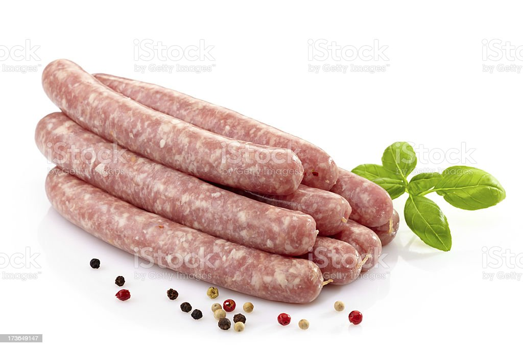 fresh raw meat sausages royalty-free stock photo