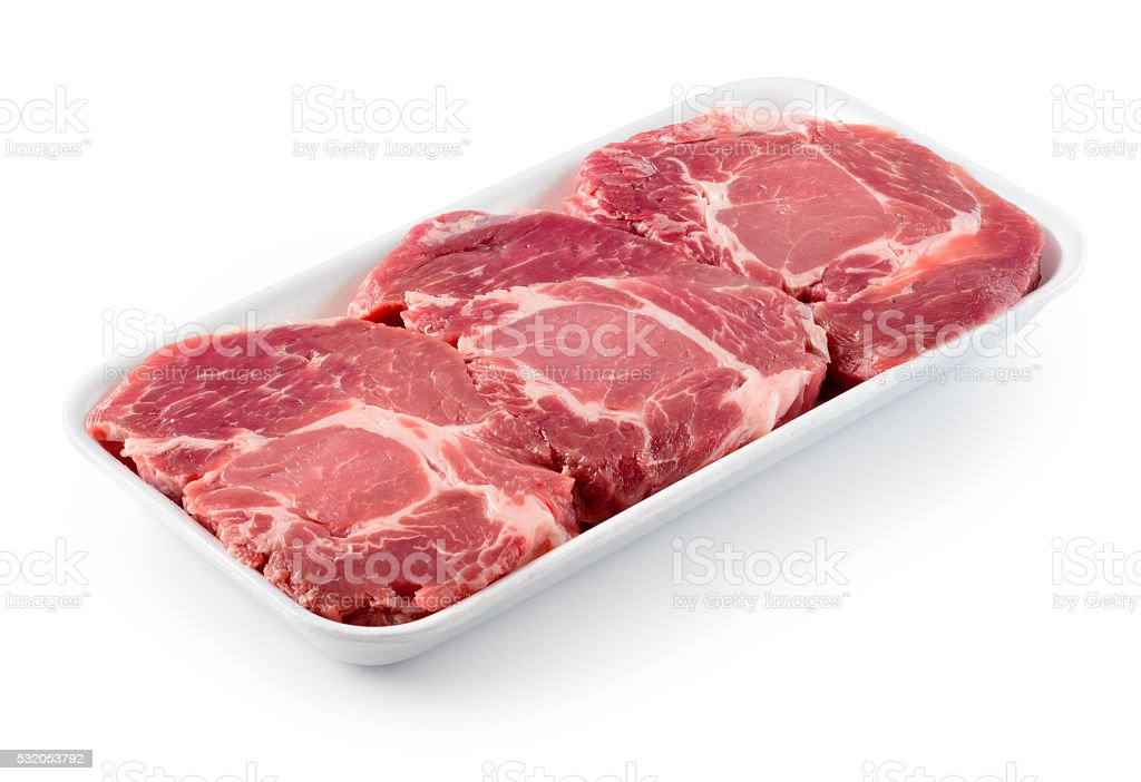 Fresh raw meat. With clipping path. stock photo
