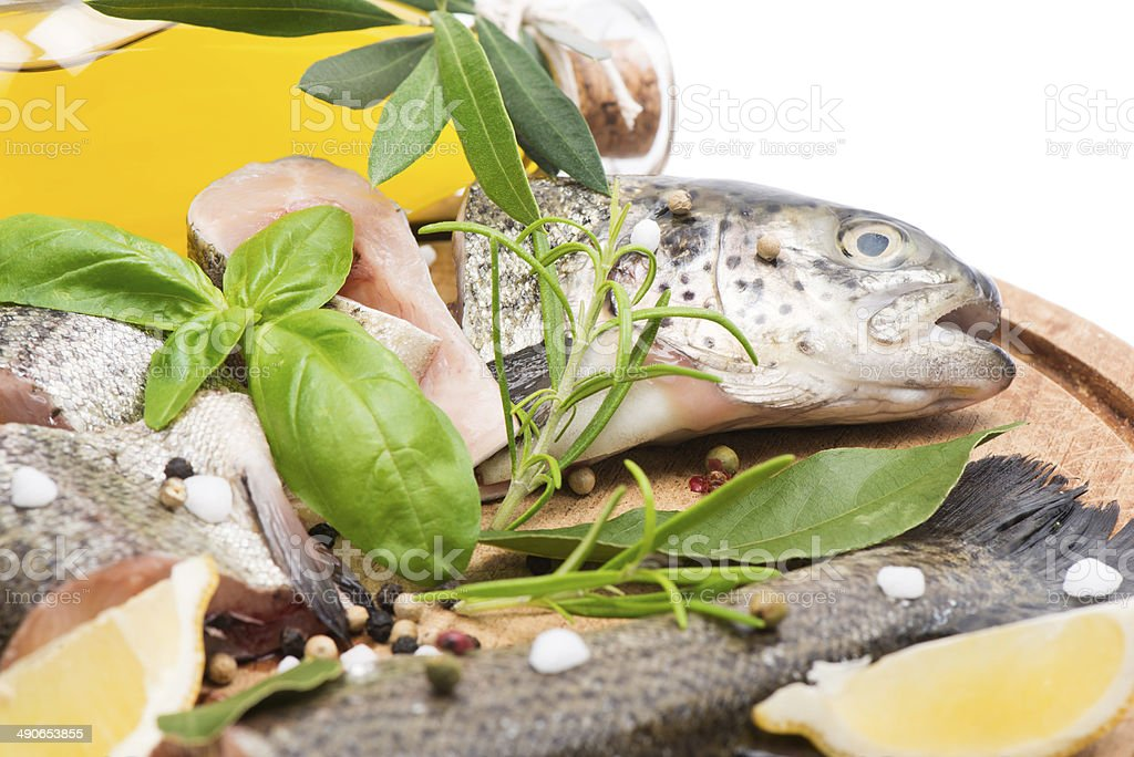 fresh raw of trout  fillets stock photo