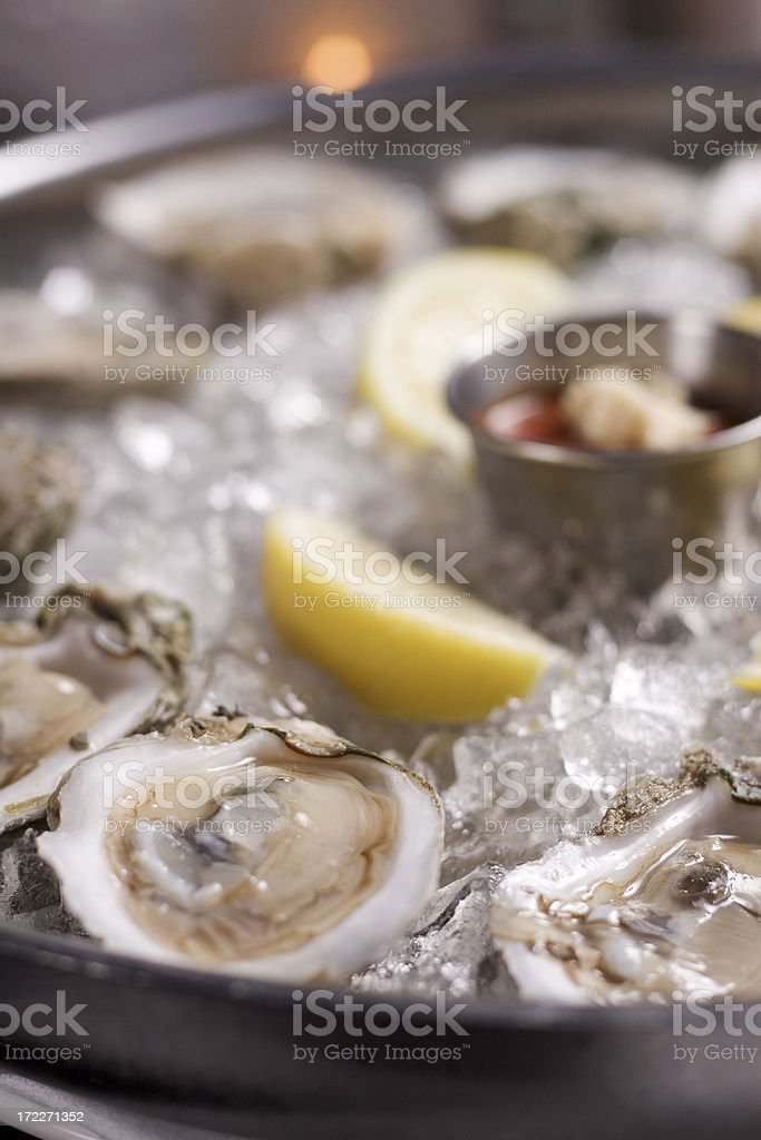Fresh raw oysters royalty-free stock photo