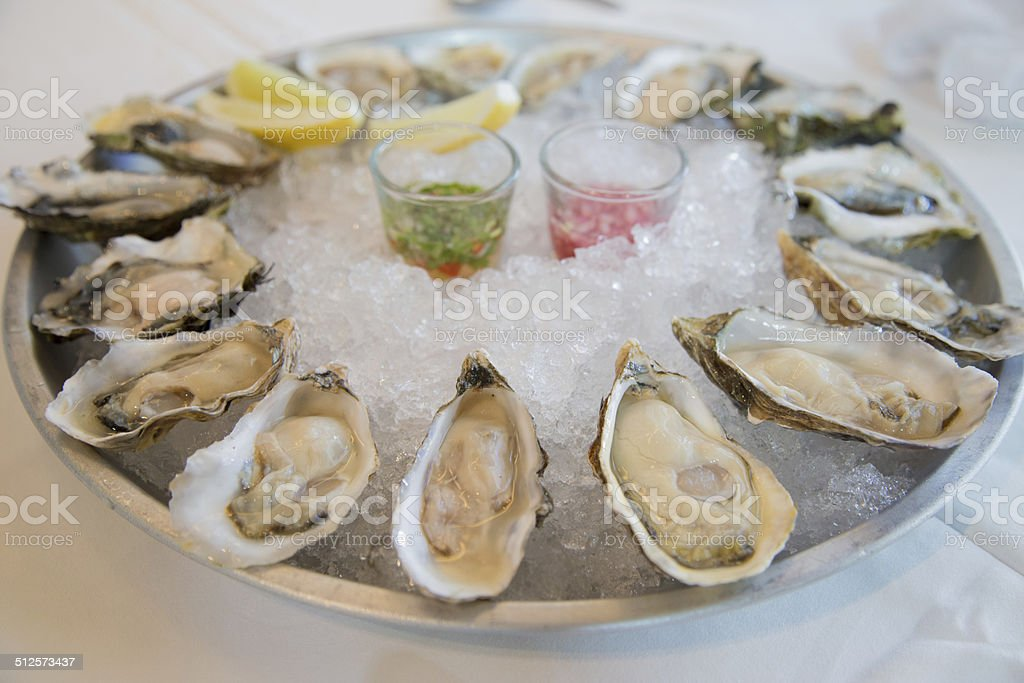 Fresh raw oysters stock photo