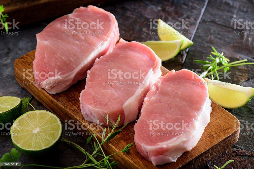 Fresh Raw Pork Loin stock photo