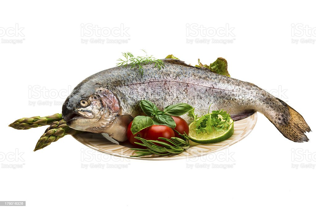 Fresh raw rainbow trout royalty-free stock photo
