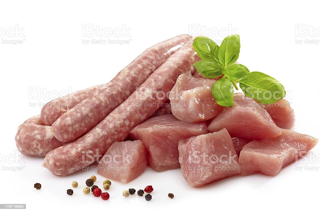 fresh raw sausages and meat royalty-free stock photo
