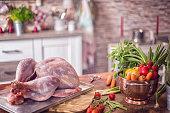 Fresh Raw Turkey Ready to be Prepared for Holidays