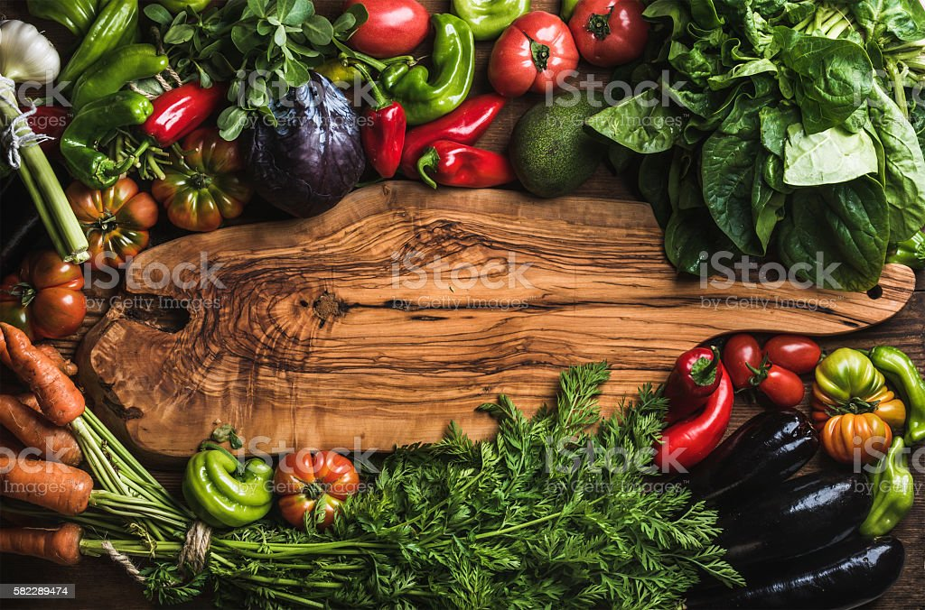 Fresh raw vegetable ingredients for healthy cooking or salad making stock photo