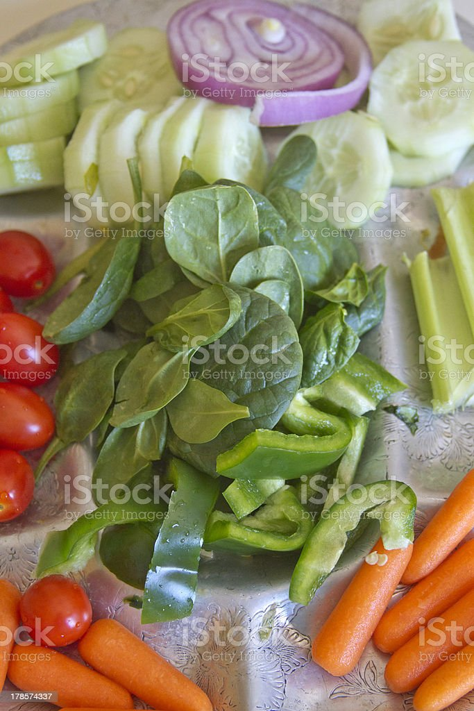 Fresh, Raw Vegetables On a Silver Platter royalty-free stock photo