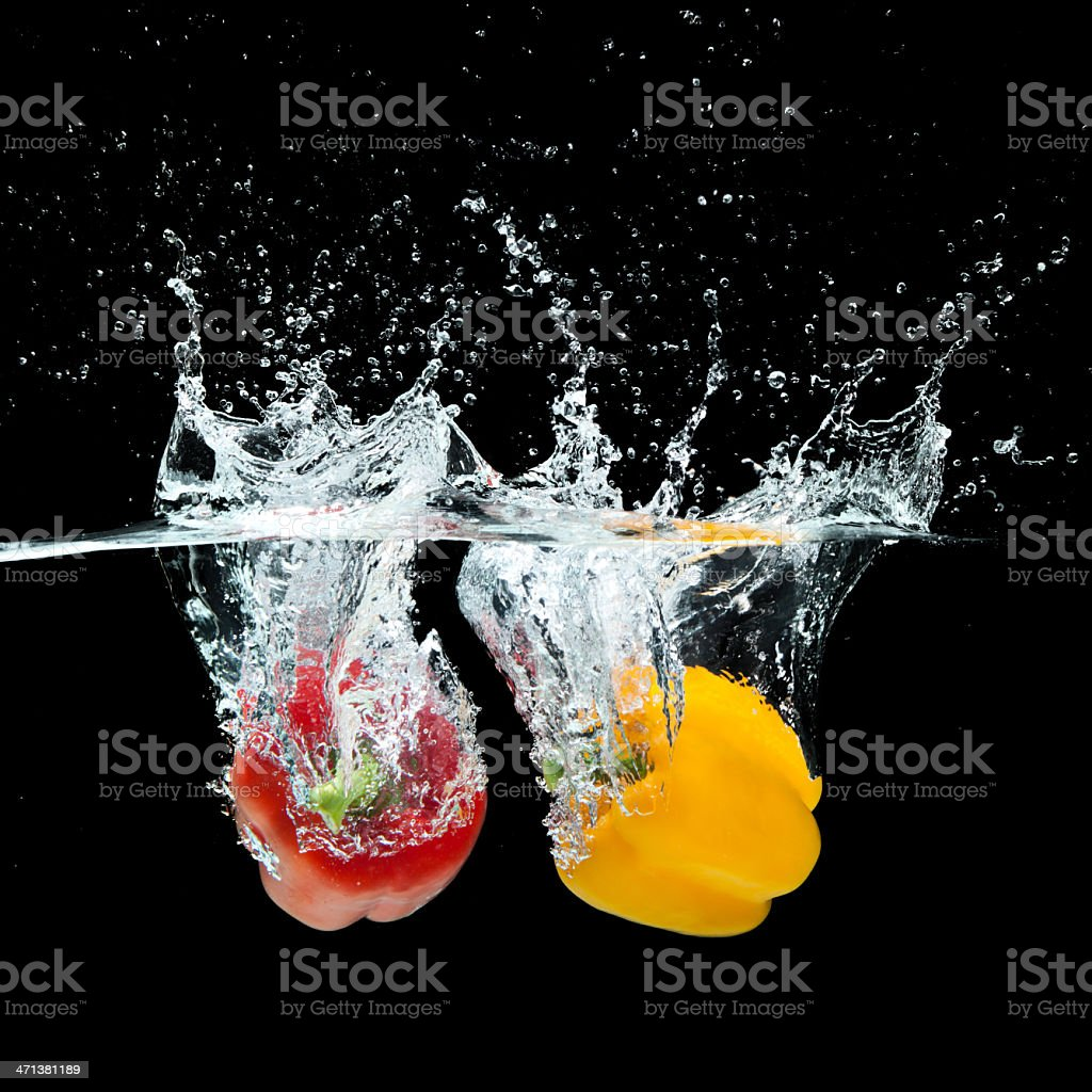 Fresh  red and yellow paprika royalty-free stock photo