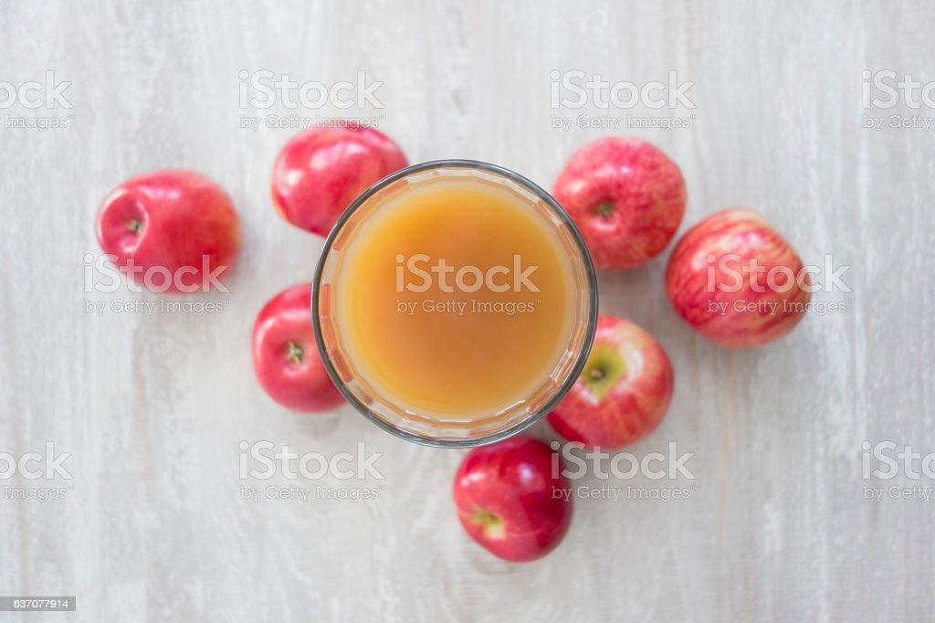 Fresh red apple juice stock photo
