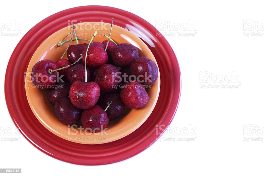 Fresh Red Cherries in Bowl stock photo