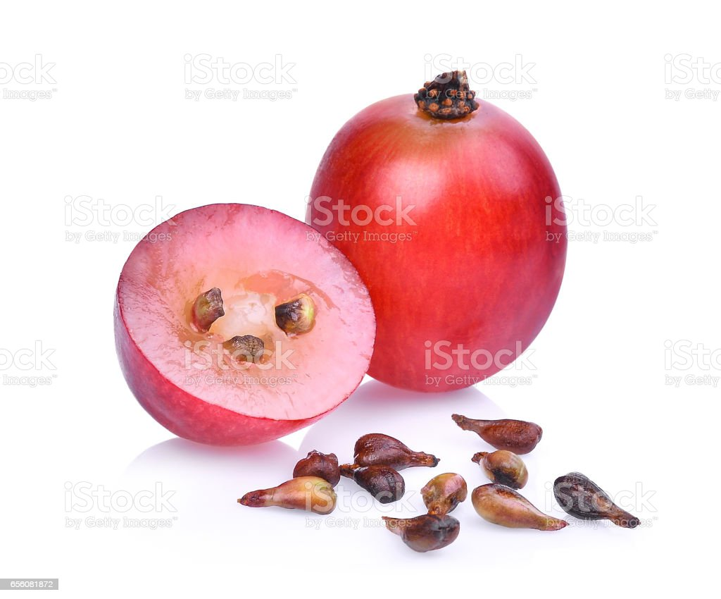 fresh red grapes isolated on white background. stock photo