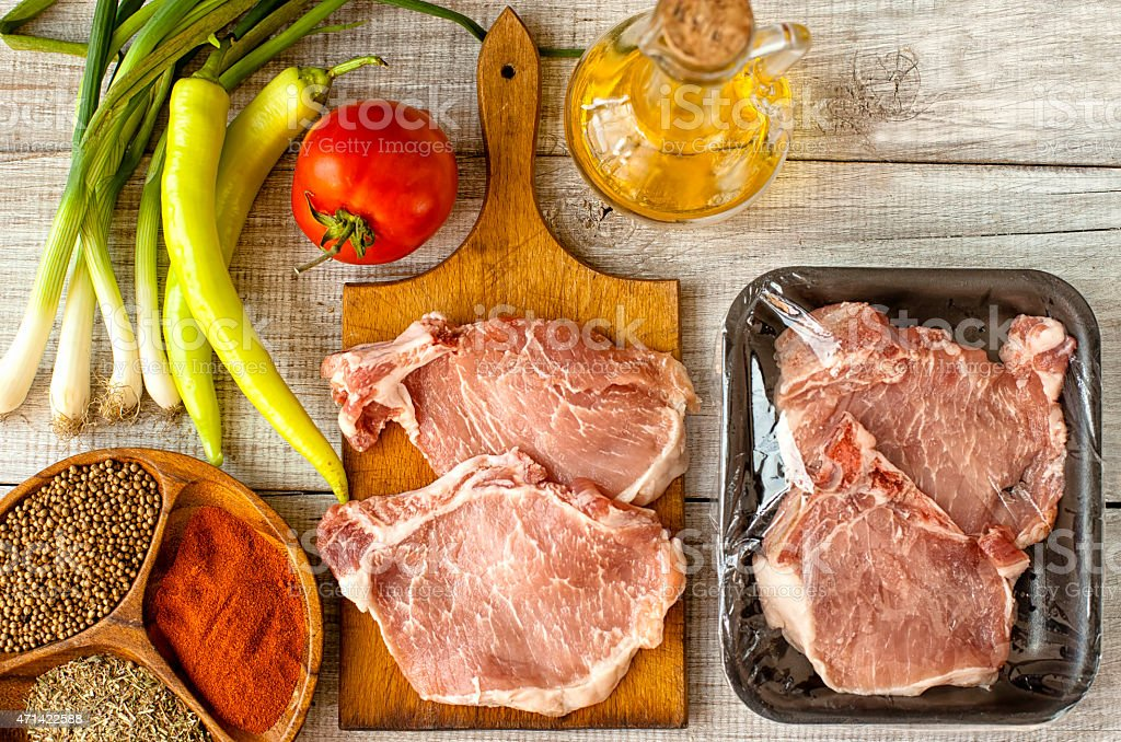 Fresh red meat packed in a poly bag stock photo