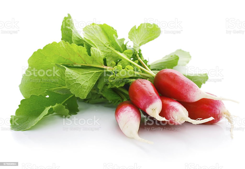 fresh red radish with green leaf royalty-free stock photo
