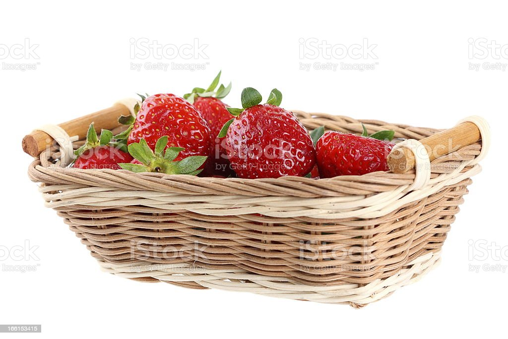 fresh red strawberries in the basket royalty-free stock photo