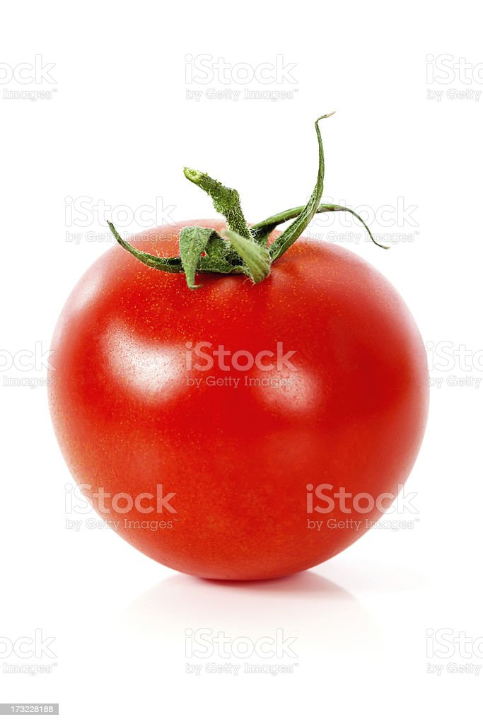 Fresh Red Tomato on White Background stock photo