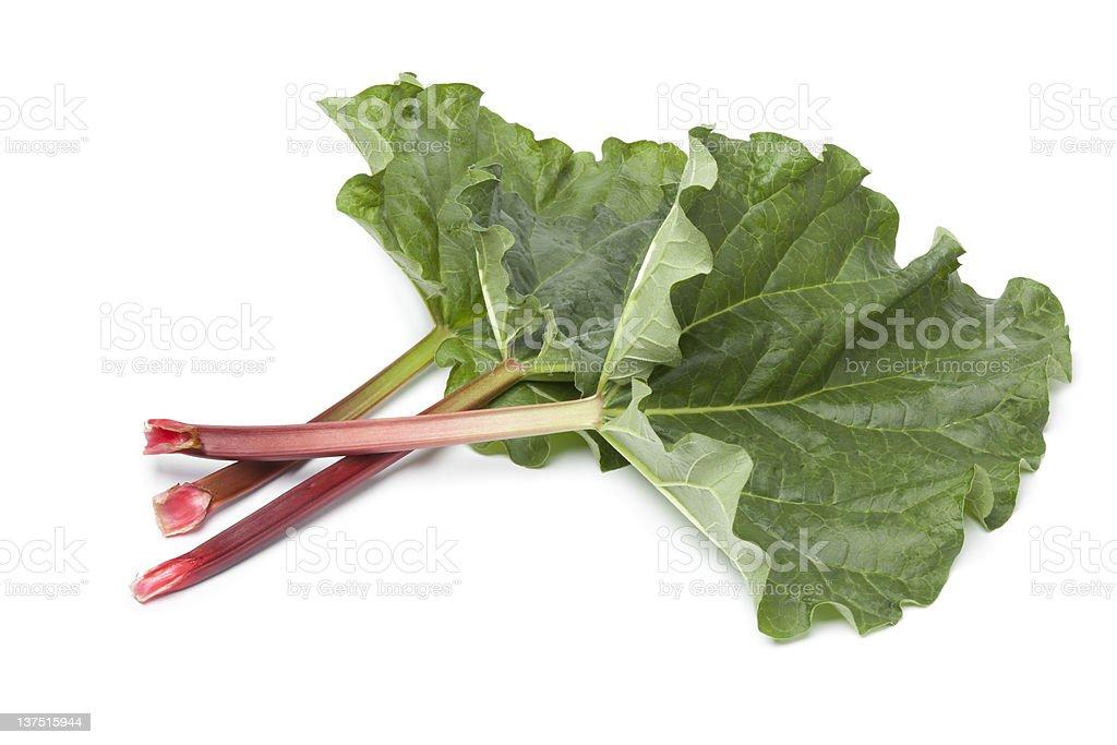 Fresh Rhubarb stalks and leaves stock photo