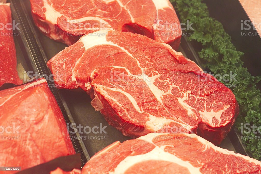 Fresh Ribeye Steaks royalty-free stock photo