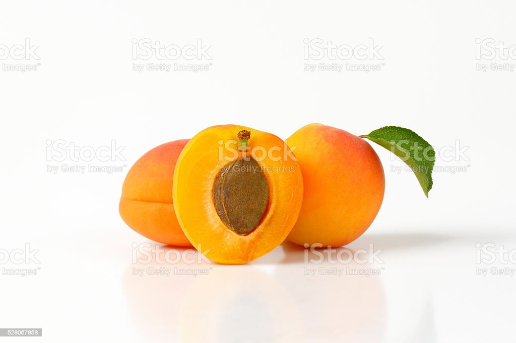 Fresh ripe apricots stock photo