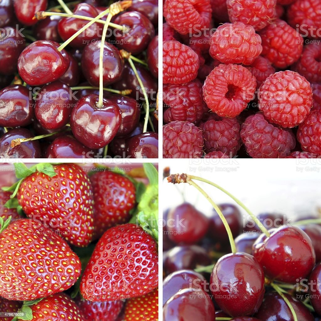 Fresh ripe berries. Collage of four photos royalty-free stock photo