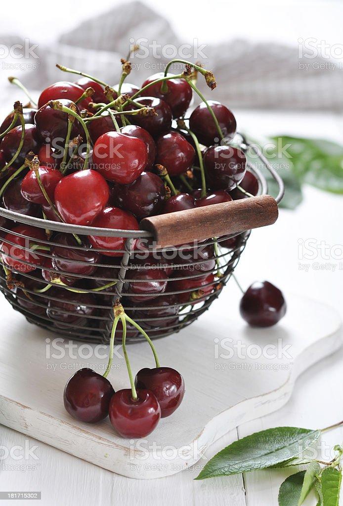 Fresh ripe cherries royalty-free stock photo