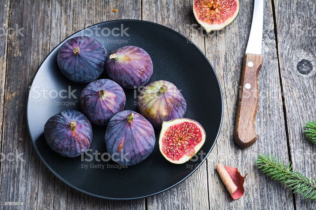Fresh ripe figs on a plate stock photo