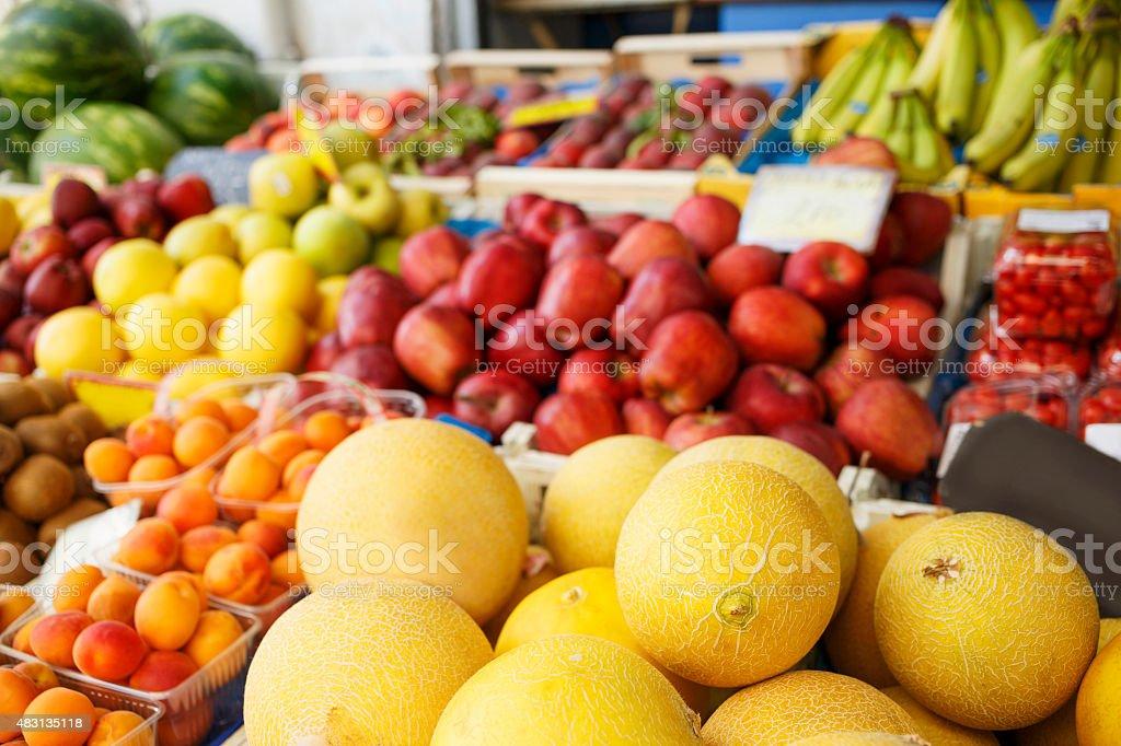 Fresh ripe fruit at the market stock photo