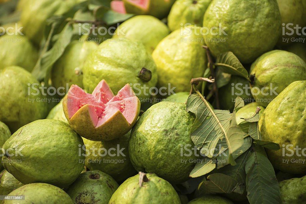 Fresh, Ripe Gauva at a Fruit Stall, India stock photo