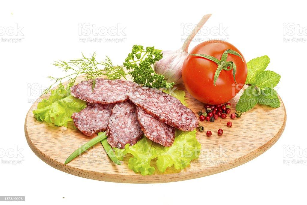 Fresh ripe salami royalty-free stock photo