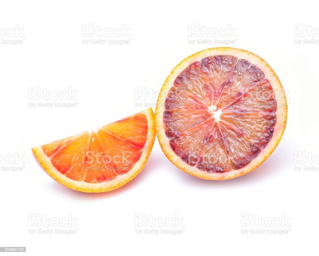 Fresh ripe sicilian red blood orange isolated on white stock photo