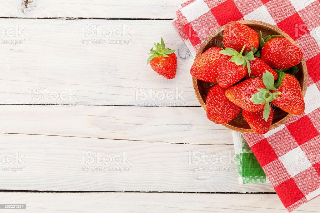 Fresh ripe strawberry in bowl stock photo