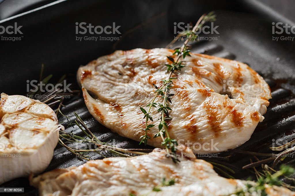 Fresh roasted chicken fillet stock photo