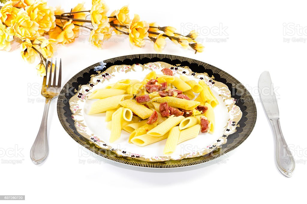 Fresh Roasted Noodles with Sausage and Cheese stock photo