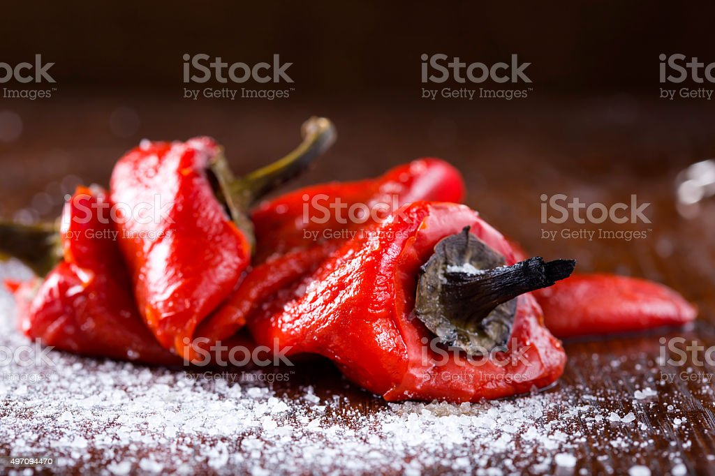 Fresh roasted red pepper stock photo