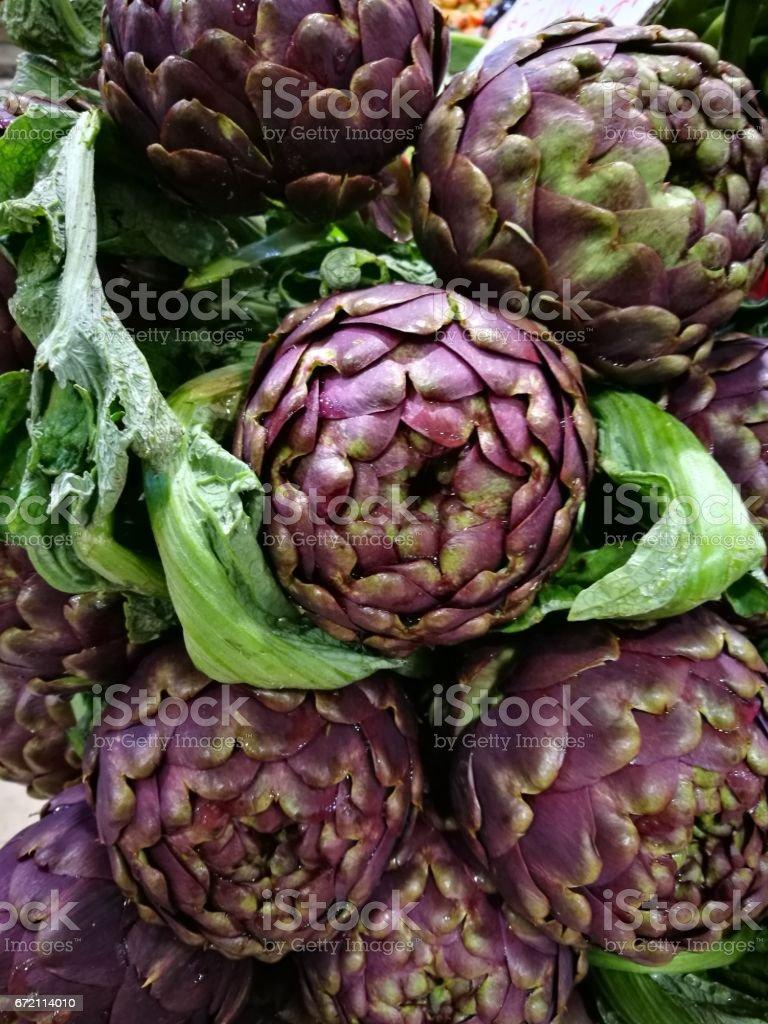 Fresh Romaneschi artichokes stock photo