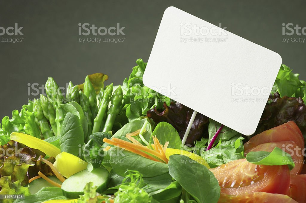 Fresh salad and pop-up card royalty-free stock photo