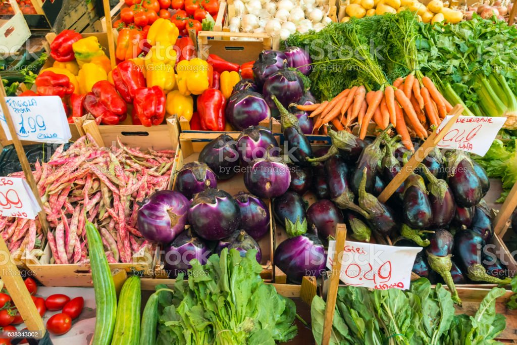 Fresh salad and vegetables for sale stock photo