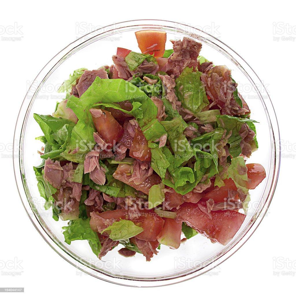 Fresh  salad from tuna, tomato and lettuce stock photo