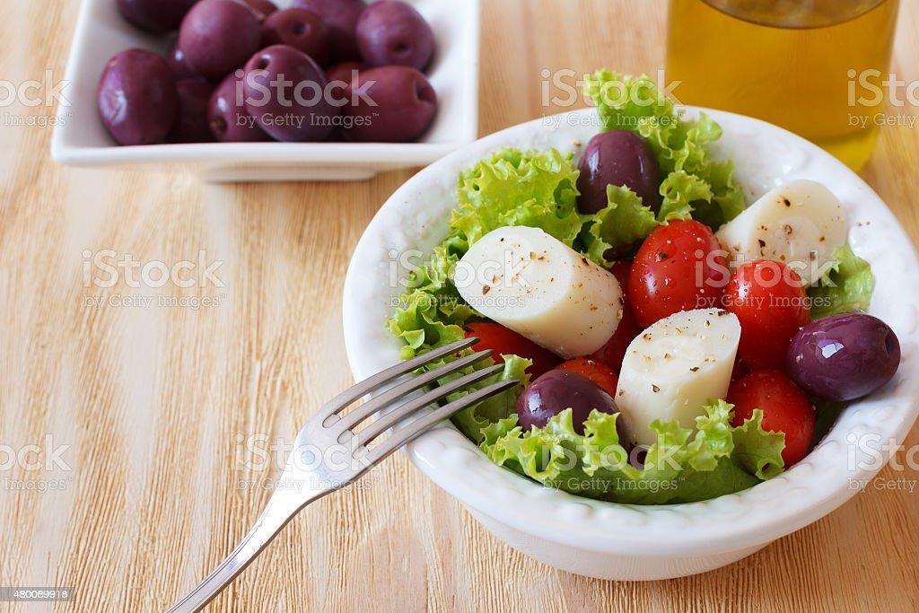 Fresh salad of heart of palm (palmito) stock photo