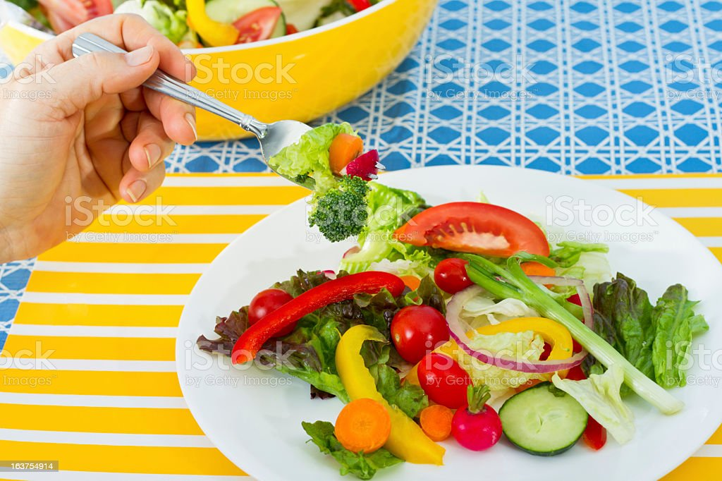 Fresh Salad On Picnic Table royalty-free stock photo
