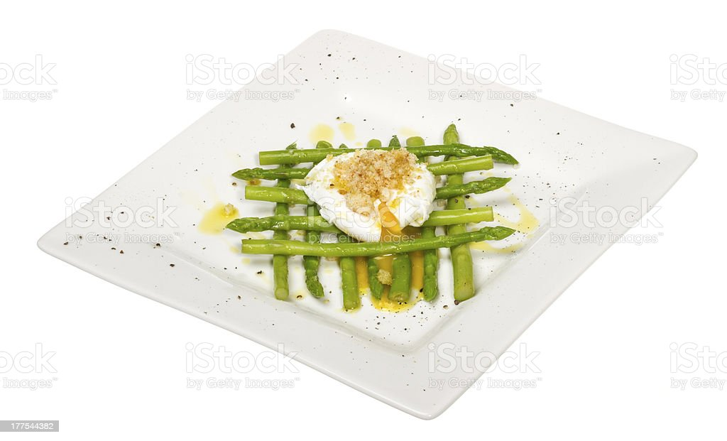 fresh salad with asparagus,eggs and croutons royalty-free stock photo