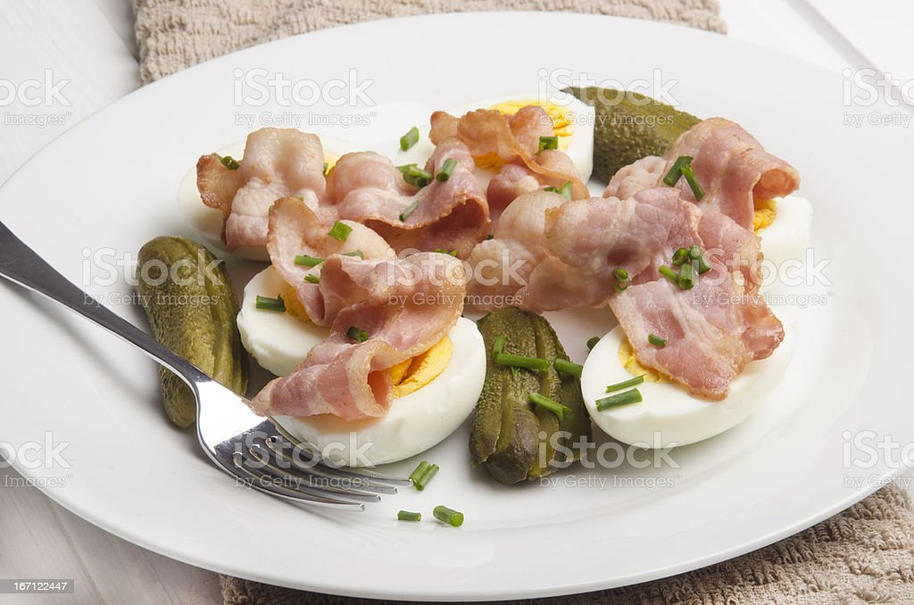 fresh salad with bacon and egg stock photo