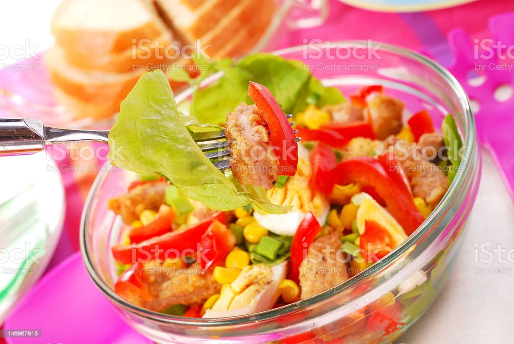 fresh salad with breaded meat and vegetables royalty-free stock photo