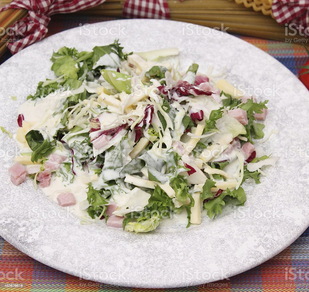fresh salad with cheese and ham stock photo
