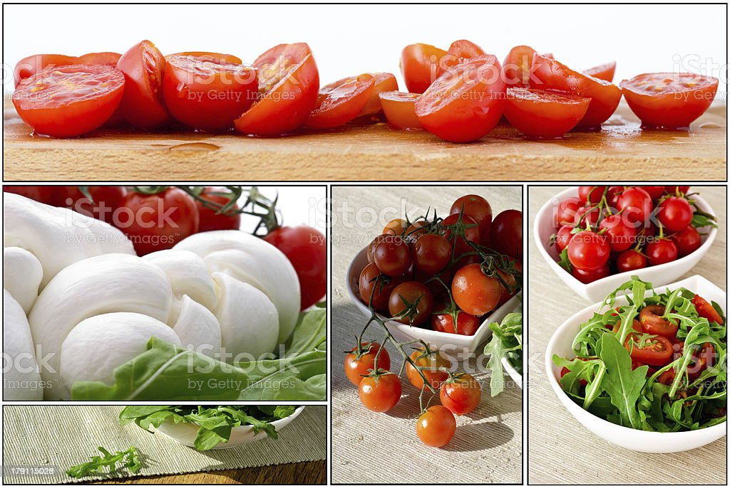 Fresh salad with cherry tomatoes, rucola, mozzarella - collage royalty-free stock photo