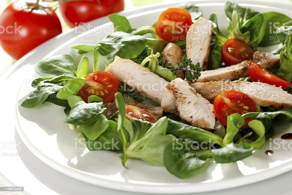 fresh salad with chicken breast royalty-free stock photo