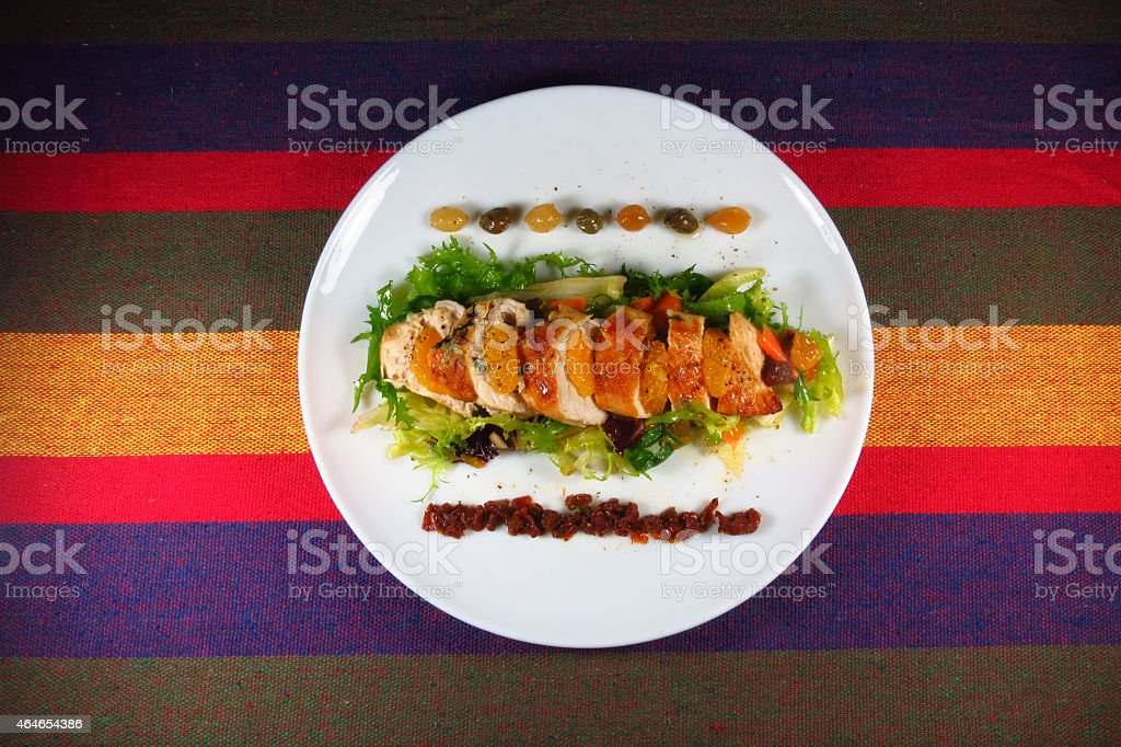 Fresh salad with chicken breast stock photo