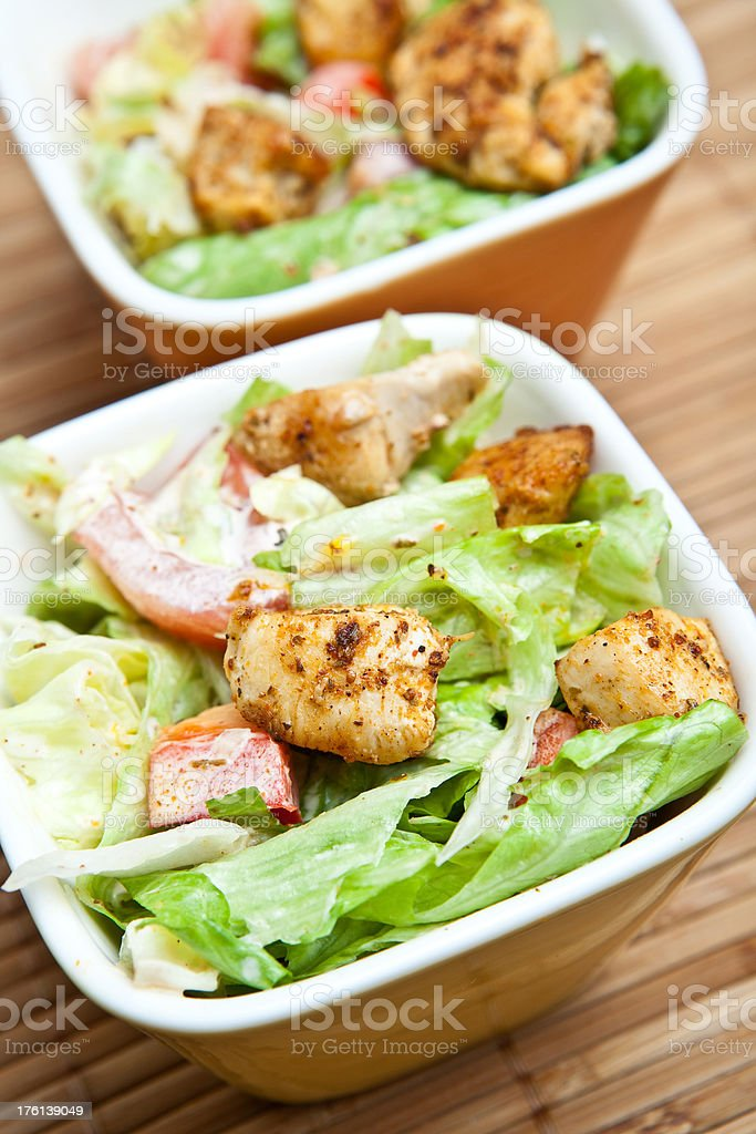 Fresh salad with chicken meat royalty-free stock photo