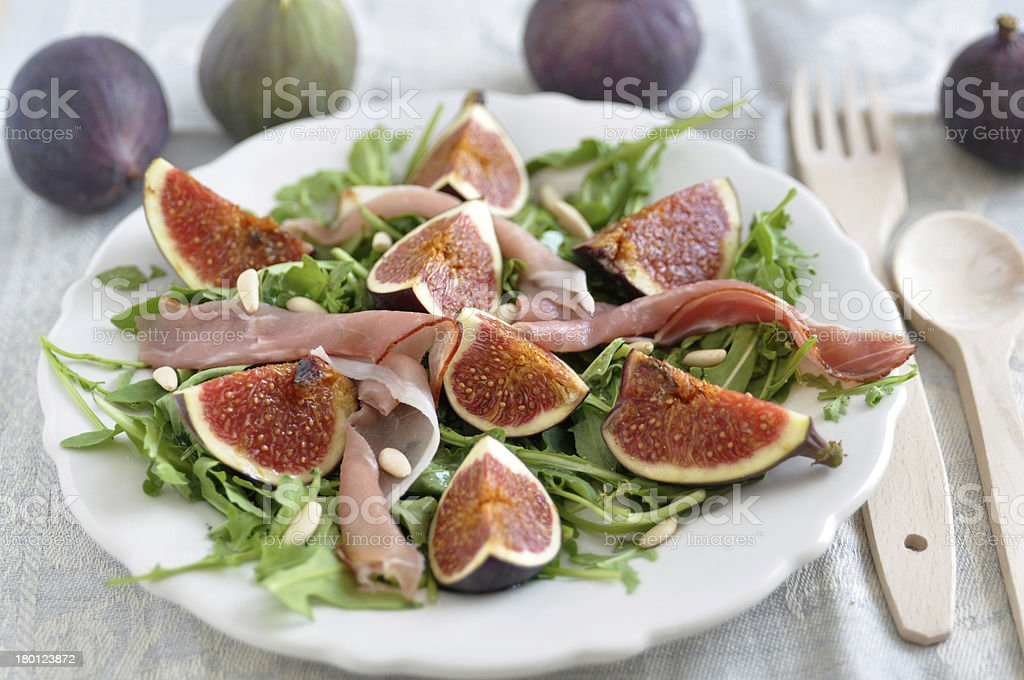 Fresh salad with figs royalty-free stock photo
