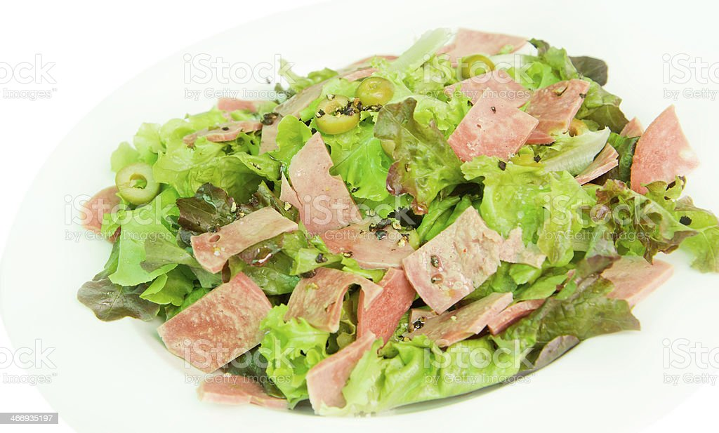fresh salad with ham and olive royalty-free stock photo