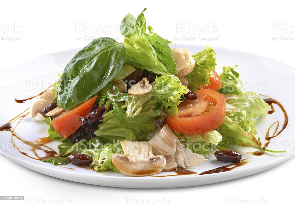 fresh salad with mushrooms royalty-free stock photo